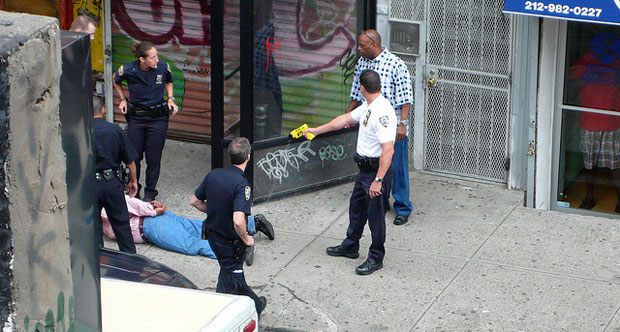 NYPD Action in front of my house by Stan Wiechers, on Flickr https://www.flickr.com/photos/whoisstan/3768668935/in/photostream/